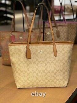 Nwt Coach City Tote In Signature Canvas 350 $ #5696 Nouvelle Version