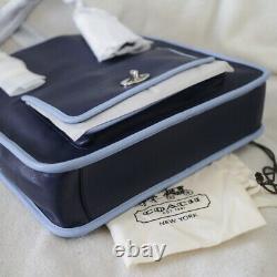 Nwt Coach Legacy Leather Navy Blue Laptop Magazine Sac À Bandoulière Nouveau