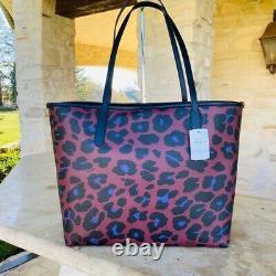 Nwt Coach Leopard Réversible City Tote Wallet Options Mauve Multi Animal Print