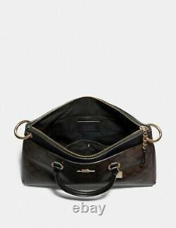 Nwt Entraîneur Mia Satchel F76643 Signature Brown Black Sac Balptop Épaule Tote