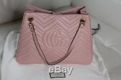 Nwt Gucci Gg Marmont Rose Chevron Sac À Bandoulière En Cuir Sac Fourre-tout 453569