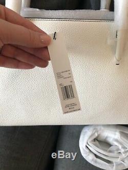 Nwt Marc Jacobs Serrure Sac Fourre-tout En Cuir Blanc Argent