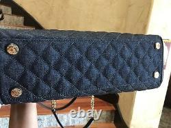 Nwt, Michael Kors Large Susannah Matelassed Denim&leather Shoulder 428 $
