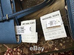 Nwt, Michael Kors Micro Stud Jstr Sm Carryall Portefeuille Cuir Saffiano Sac À Main + 700 $