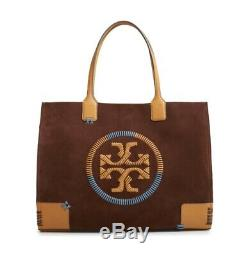 Nwt Tory Burch $ 598 Ella Surjetez Grand Logo En Cuir Sac Fourre-tout Daim Marron
