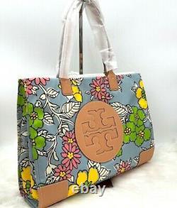 Nwt Tory Burch Ella Floral Printed Logo Nylon Tote Bag In Wallpaper Floral