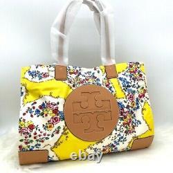 Nwt Tory Burch Ella Printed Logo Nylon Tote Bag In Yellow Porcelain Floral
