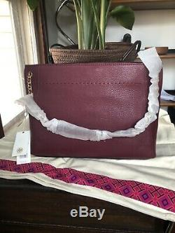 Nwt Tory Burch Imperial Grenat Mcgraw Chaîne Slouchy 498 $ Tote Épaule