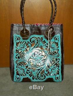Patricia Nash Turquoise Floral Tooled Cavo Fourre-tout Nwot-gorgeous! Grande Vente
