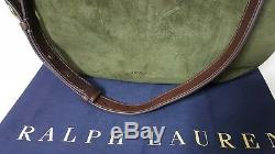 Polo Ralph Lauren Equestrian En Cuir Brun / Olive Suede Femmes Sac Besace