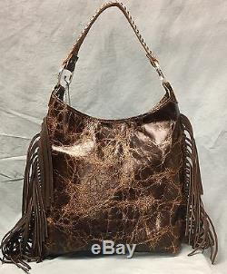 Raviani Chef Distressed Brown Sac Besace Indien Avec Fringe & # 1426 Argent Clous
