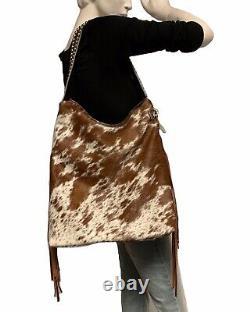 Raviani Western Hobo Design In Speckle Hide Leather Withfringe &silver Studs