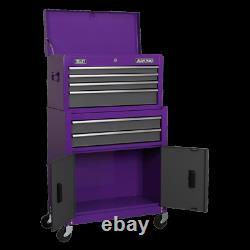 Sealey Ap2200bbcpstack Haut De La Poitrine, Mi-boîte Et Roll Cab 9 Tiroir Stack Violet