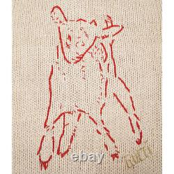 Sz L New $1800 Gucci Men's Tan Red Stiched Lamb Knit Animal Magnetism Sweater