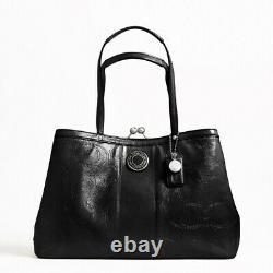 T.-n.-o. 398 $ Coach Signature Stitch Patent Carryall En Cuir Sac À Épaule Noir Nouveau
