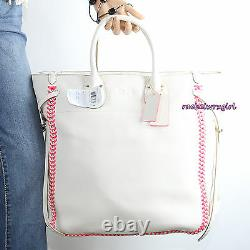 T.n.-o. Coach Pebbled Leather Tall Tatum Tote Business Portable Bag 35156 Neon Pink