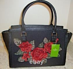 T.n.-o. Kate Spade Lana Seeley Lane Black Embroidered Rose Crossbody Purse 459 $