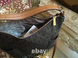 T.n.-o., Michael Kors Anita Mk Monogram Large Hobo/crossbody Handbag+wallet$516 Brown