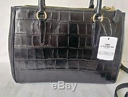 Tn-o Coach F44960 Crocodile Embossé Cuir Surrey Carryall Noir Crossbody Bag-