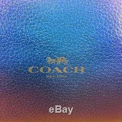 Tn-o Coach F59388 Métallique Grand Derby Tote Bleu Hologram Cuir 350 $ Au Détail