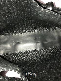 Tn-o Falor Italie Extra Large Falorni Woven Hand 2pc Tote & Pochette En Noir