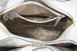 Tn-o Michael Kors Bedford Belted Grand Fourre-tout D'épaule En Cuir Blanc Optique