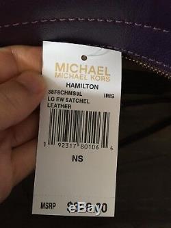 Tn-o Michael Kors Grand Studio Hamilton East West Satchel Bourse En Cuir Violet