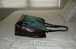 Tn-o Patricia Nash Toscano N / S Sac Italien Cuir Ouvragé Turquoise P507133