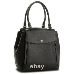 Tory Burch Femme Half-moon Large Black Leather Women's Handbag Nouveau