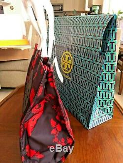 Tory Burch Grande Ella Black Mountain Paisley Nylon Sac 268 $ + Tn-o