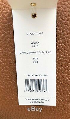 Tory Burch Nouveau Brody Tan Grand Sac Fourre-tout En Cuir Grainé Brun Clair Écorce Dorée $ 395