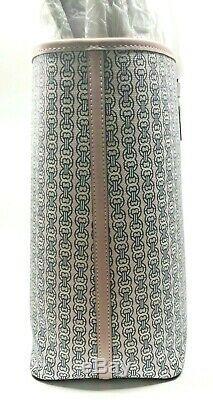 Tory Burch Nouveau Coastal Rose Gemini Lien Stripe Coated Toile Grand Fourre-tout 258 $