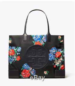 Tory Burch Nouveau Ella Imprimé Thé Noir Logo Rose Sac Fourre-tout Authentique 228 $
