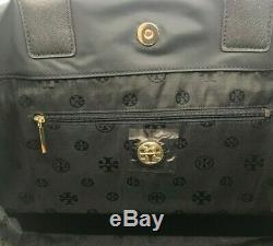 Tory Burch Nouveau Ella Noir Packable Grand Logo En Cuir De Nylon Sac Fourre-tout 195 $