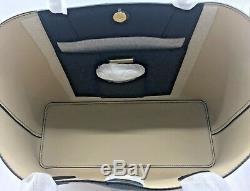 Tory Burch Nouveau Grand Sac Fourre-tout En Cuir Grainé Noir Brody Or Logo Auth $ 395