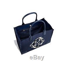 Tory Burch Nouveauté Ella Navy Rope Logo Brodé Grand Sac Fourre-tout En Cuir De Nylon $ 258