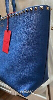 Valentino Garavani Amadeus Bleu Rockstud Fourre-tout En Cuir Neuf Avec Des Étiquettes