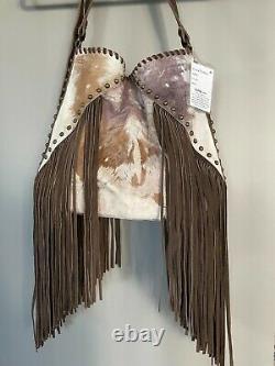 Vieux Cheveux Gringo Sur Hide Sac À Main, Studs Et Fringe, Nouveau