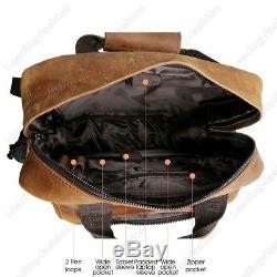 Vintage Leather Men Large 17 Laptop Backpack Randonnée Camping Voyage Carry On Bag